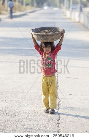 Mandu, India - February 05, 2017 : Unidentified Indian Poor Child On The Street. Poverty Is A Major