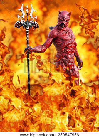 A Mean Looking Demonic, Red Devil With Horns Standing Holding Trident Pitchfork, 3d Rendering. He Is