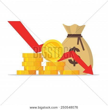 Loss Of Money, Flat Cartoon Cash With Down Arrow Stocks Graph, Bankruptcy, Concept Of Financial Cris