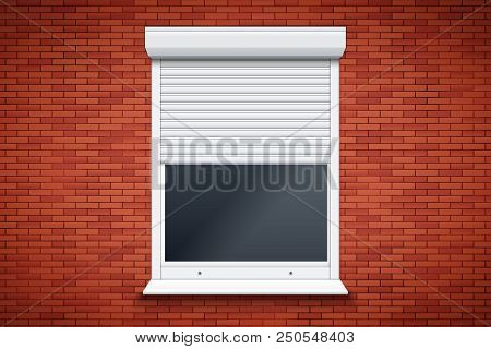 Opened Roller Shutters Window On Red Brick Wall. Protect System Equipment. White Color. Vector Illus