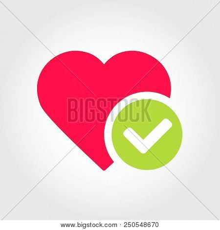 New Heart Tick Icon, Cartoon Flat Design Healthy Heart With Checkmark Symbol, Medicines For Heart, G