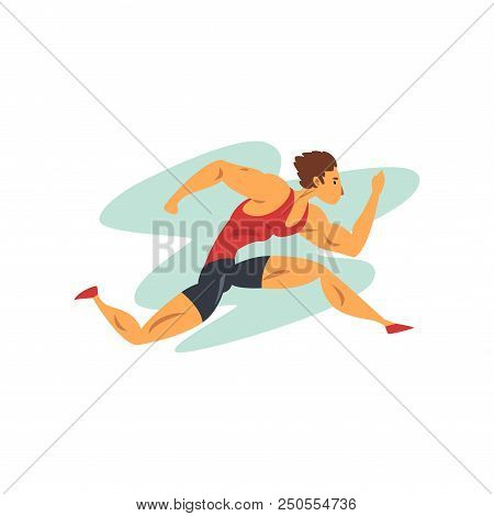 Athlete Man Running, Professional Sportsman At Sporting Championship Athletics Competition Vector Il
