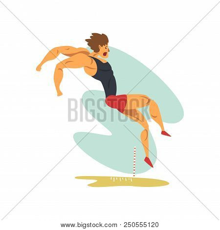 Male Athlete Doing Long Jump, Professional Sportsman At Sporting Championship Athletics Competition