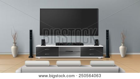 Vector Realistic Mockup Of Living Room With Big Plasma Tv On Flat Gray Wall, Black Stand With Modern