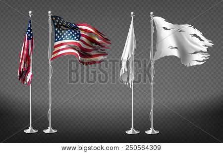 Vector Realistic Set With Damaged Flags Of United States Of America On Steel Poles Isolated On Trans