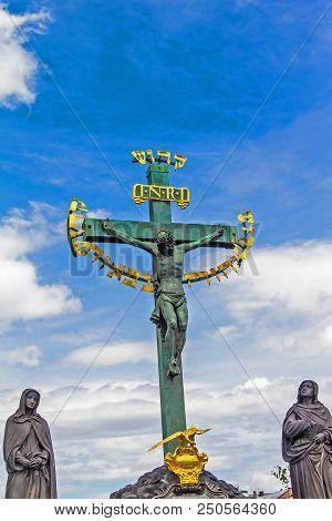 Prague, Czech Republic .statuary Of St. Cross - Calvary - In Charles Bridge, Prague