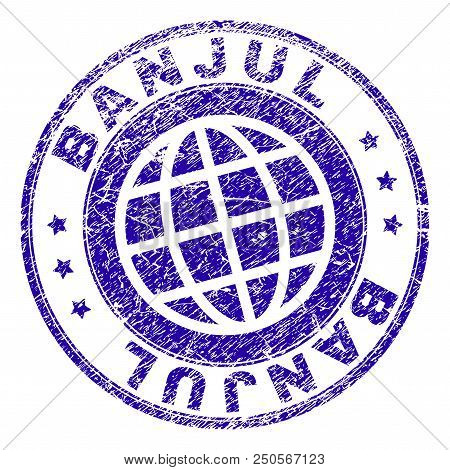 Banjul Stamp Print With Grunge Texture. Blue Vector Rubber Seal Imprint Of Banjul Caption With Uncle
