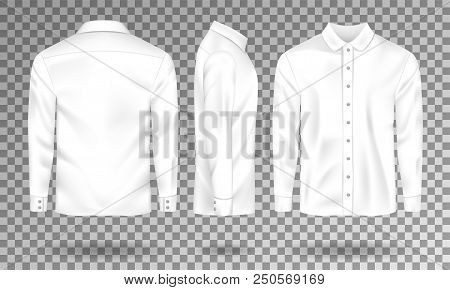 Blank Male Shirt Template. Realistic Men S Shirt With Long Sleeves Front, Side, Back View. White Cot