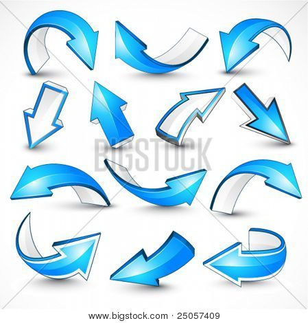 Blue arrows. Vector illustration
