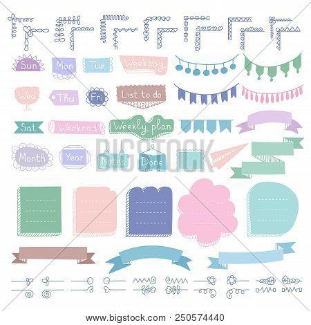 Set Of Doodle Frames, Corners, Dividers, Ribbons, Weekdays And Design Elements