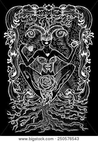 Lust. Latin Word Luxuria Means Sexual Desire. Seven Deadly Sins Concept, White Silhouette On Black B