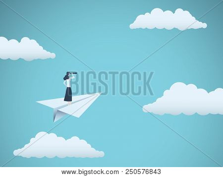 Business Vision Or Visionary Vector Concept With Businesswoman On Paper Plane With Telescope. Symbol