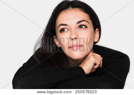 Close Up Portrait Of Brunette Cute Pensive Woman. Young Happy Pretty Woman With Closed Eyes Wearing