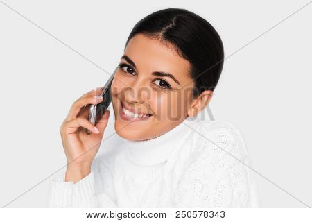 Beautiful Portrait Of Attractive Young Happy Woman With Mobile Phone With Pretty Toothy Smile, On Th