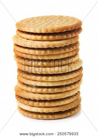 Pile Of Sandwich Biscuit Isolated On White Background