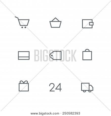 Basic Outline Icon Set - Shopping Cart, Basket, Wallet, Credit Card, Price Tag, Bag, Gift, Open Hour