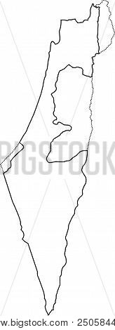 Israel Outline Map. With The Designation Of The Territory Of The Gaza Strip, West Bank And Golan Hei