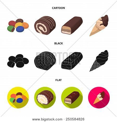 Dragee, Roll, Chocolate Bar, Ice Cream. Chocolate Desserts Set Collection Icons In Cartoon, Black, F