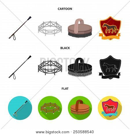 Aviary, whip, emblem, hippodrome .Hippodrome and horse set collection icons in cartoon, black, flat style vector symbol stock illustration . poster