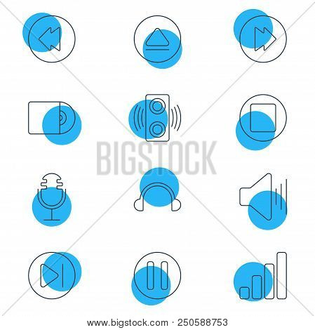 Vector Illustration Of 12 Melody Icons Line Style. Editable Set Of Forward, Upward Sound, Stop And O