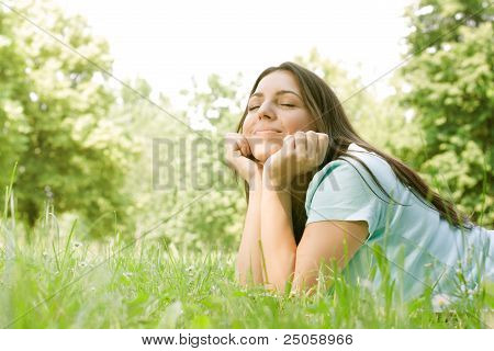 Beautiful Girl Dreaming Outdoor