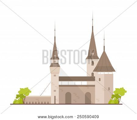 Old European Castle, Fortress Or Stronghold With Towers And Drawbridge Isolated On White Background.