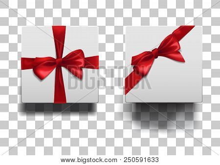 Closed Low And High Boxes With Shadows Set On Squared Background. White Square Boxes With Red Ribbon