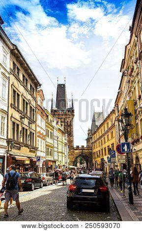 Prague, Czech Republic -july 23,2017: People Are Walking On The Street Near The Powder Tower