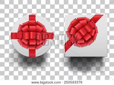 Closed Round And Square Boxes With Shadows Set On Squared Background. White Boxes With Red Ribbons A