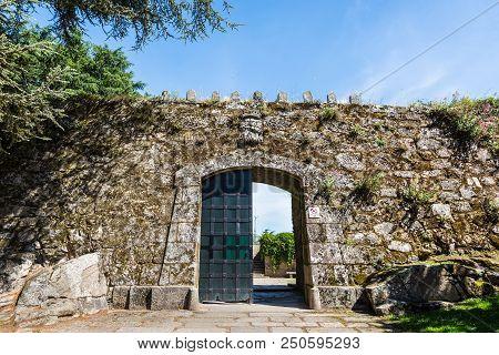 Vigo, Spain - May 20, 2017: Gateway To The Ruins Of Vigo Castle In Castro Mount Park In Vigo, Pontev