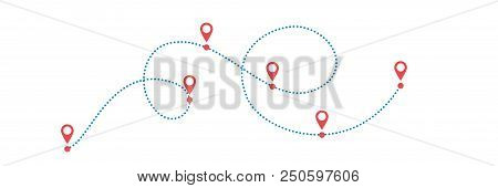 Dotted Blue Path With Red Points Or Way To Somewwhere. Vector Illustration