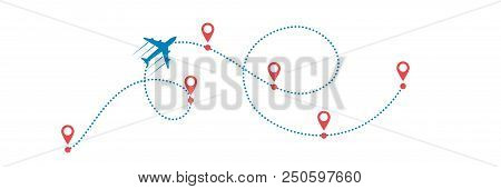 Plane And Its Dotted Path On White Background. Vector Illustration.