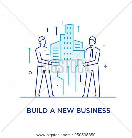 Businessmen Build A City Together.. Cooperation Interaction. Vector Illustration Eps 10 File. Succes