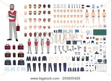 Male Teacher Constructor Or Diy Kit. Collection Of Teaching Professor S Body Parts, Hand Gestures, C