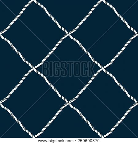Seamless Nautical Rope Pattern. Endless Navy Illustration With Light Cords Ornament. Marine Fishing