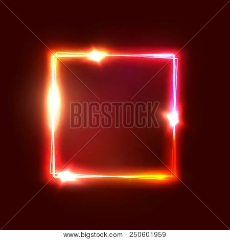 Geometric neon lights signage. Bright glowing square shape on dark red backdrop. Realistic electric power luxury sign. Rectangle electricity graphic border Neon abstract background vector illustration poster