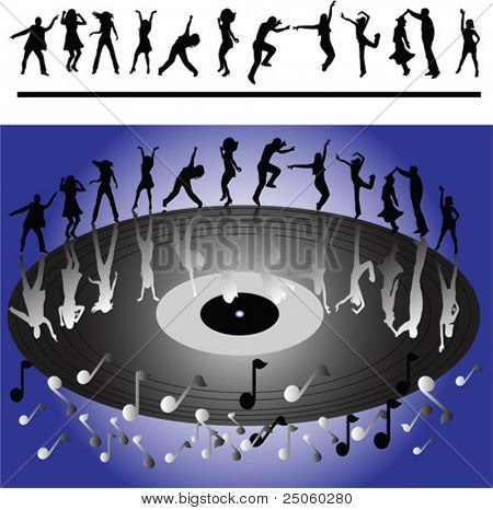 Silhouettes of people dancing disco, vector background
