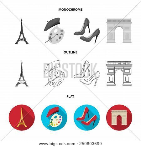 Eiffel Tower, Brush, Hat .france Country Set Collection Icons In Flat, Outline, Monochrome Style Vec