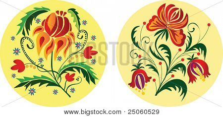 Two folk styled floral ornaments. Vector illustration