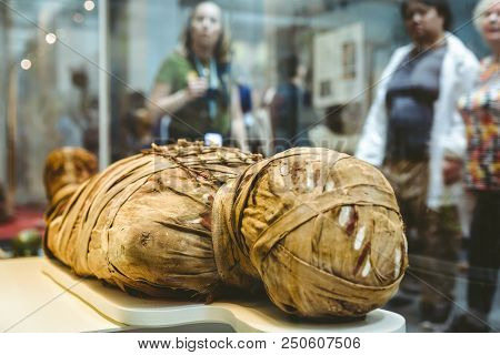 London, United Kingdom - May 15: Detail Of Ancient Egyptian Mummy In British Museum On May 15, 2018