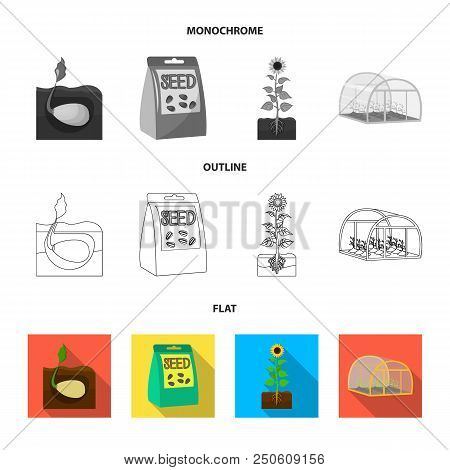 Company, Ecology, And Other  Icon In Flat, Outline, Monochrome Style. Husks, Fines, Garden Icons In