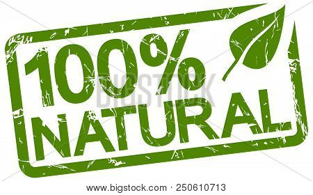 Green Grunge Stamp With Text 100% Natural Isolated On White Background