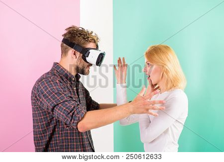 She Is Invisible For Him. Man Vr Glasses Involved Video Game While Girl Try To Wake Him Up. Video Ga