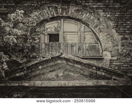 Fragment Of The Wall Of An Old Apartment House. Old Residential Building. Kazakhstan (ust-kamenogors