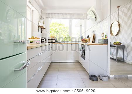 Bright Kitchen Interior With Fresh Fruits And Two Animal Bowls P