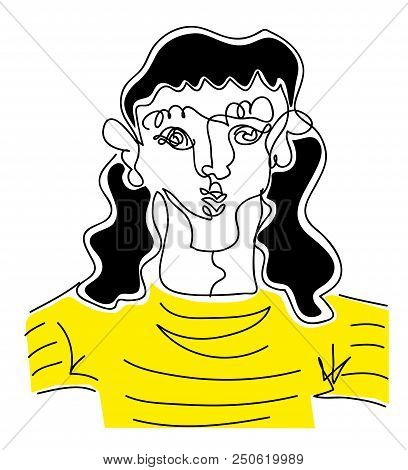 Long Hair Man.  Illustration Of Long Hair Man In Black And Yellow Stripped Shirt. Line Drawing Of Lo