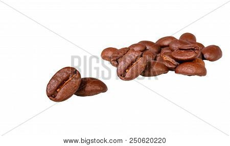 Coffee Beans Isolated On White Background With Clipping Path.
