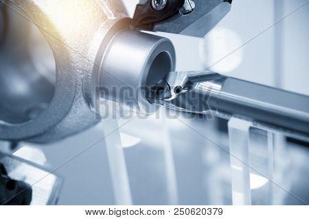Cnc Lathe Machine (turning Machine) While Cutting The Aluminium Casting Part.hi-precision Cnc Machin
