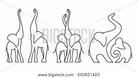 Minimalist Line Icon Set Of Elephants Couple. Abstract Logo Template Of Elephant Family. Vector Illu