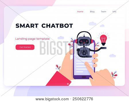 Chatbot Business Concept. Modern Landing Page Template. Chatbot, Artificial Intelligence, Customer S